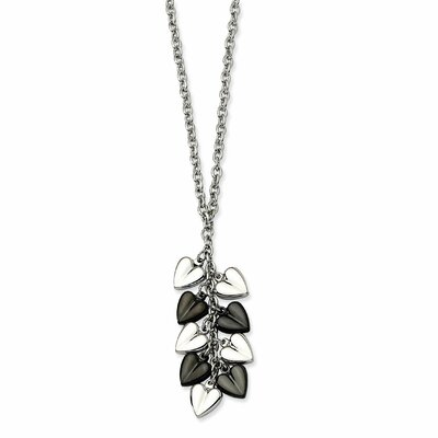 Stainless Steel Fancy Shell with CZ Cubic Zirconia Pendant 22in Necklace 1mm
