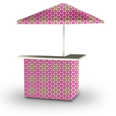 5 Piece Patio Bar Set Color: Gold/Pink/White