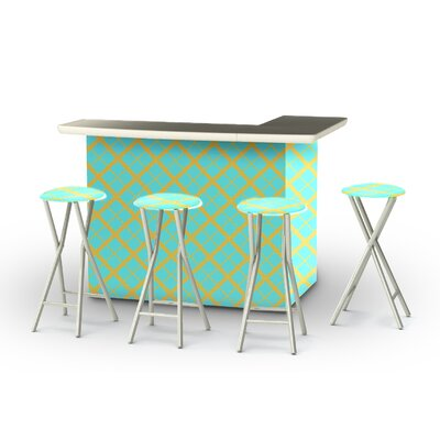 8 Piece Patio Bar Set Color: Mint/Lemonade
