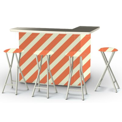 8 Piece Patio Bar Set Color: Orange/Sherbet