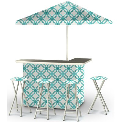 9 Piece Patio Bar Set Color: Teal/White