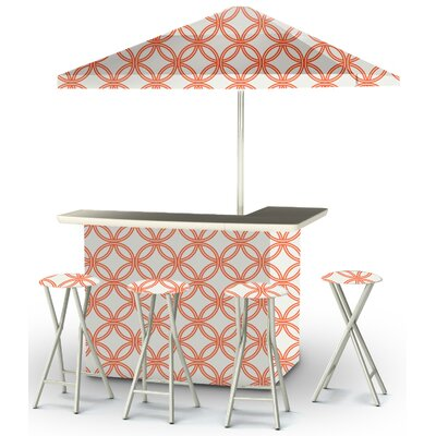 9 Piece Patio Bar Set Color: Orange/White
