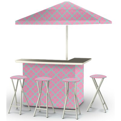 9 Piece Patio Bar Set Color: Teal/Pink