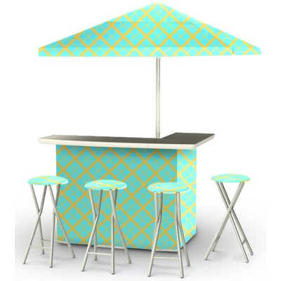 9 Piece Patio Bar Set Color: Mint/Lemonade