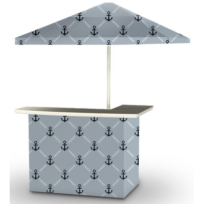 5 Piece Patio Bar Set Color: Navy/Gray