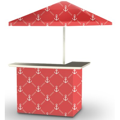 5 Piece Patio Bar Set Color: White/Red
