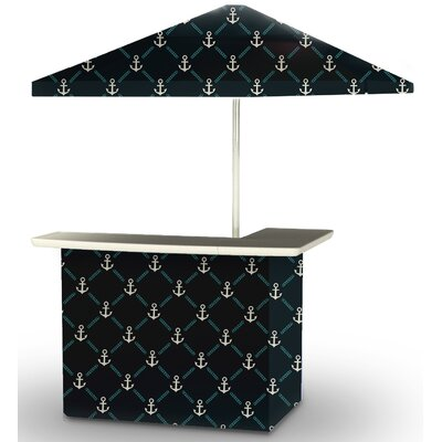 5 Piece Patio Bar Set Color: Gray/Teal/Navy