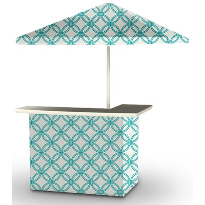 5 Piece Patio Bar Set Color: Teal/White