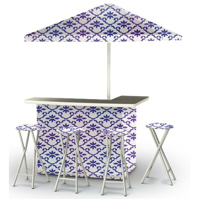 9 Piece Patio Bar Set Color: Purple/White