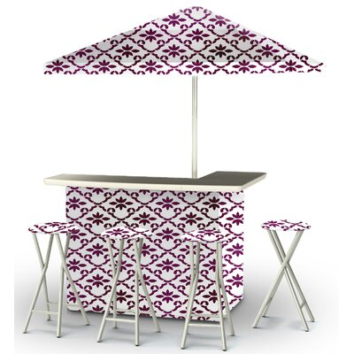 9 Piece Patio Bar Set Color: Magenta/White