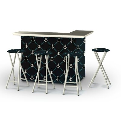 8 Piece Patio Bar Set Color: Gray/Teal/Navy Blue
