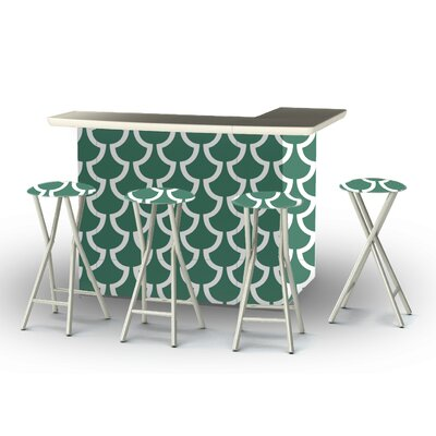 8 Piece Patio Bar Set Color: Ocean Green