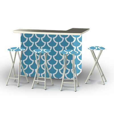 8 Piece Patio Bar Set Color: Ocean Blue