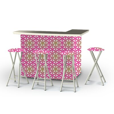 8 Piece Patio Bar Set Color: Gold/Pink/White