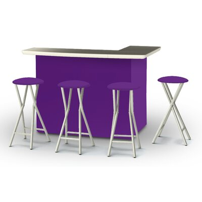 8 Piece Patio Bar Set Color: Purple