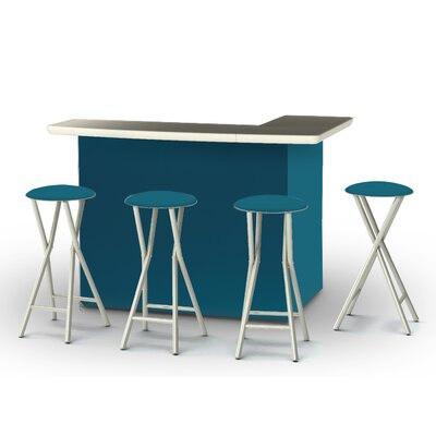 5 Piece Patio Bar Set Color: Sea Blue