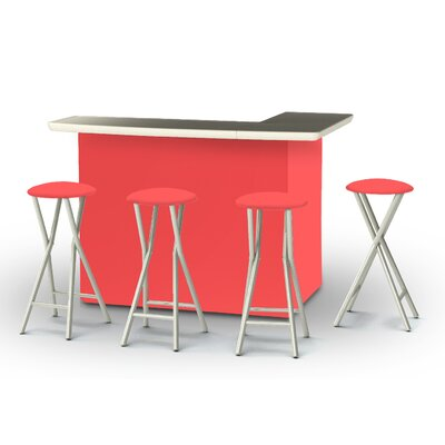 8 Piece Patio Bar Set Color: Salmon