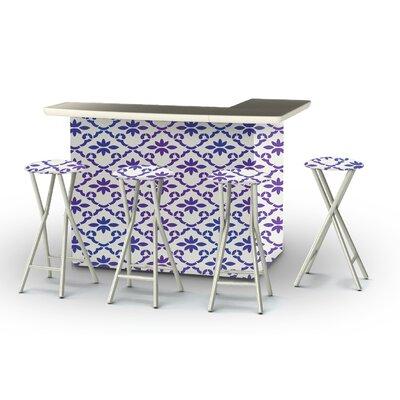 8 Piece Patio Bar Set Color: Purple/White