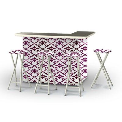 8 Piece Patio Bar Set Color: Magenta/White