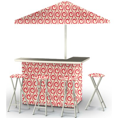 6 Piece Patio Bar Set Color: Peppermint/Cream