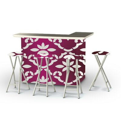 9 Piece Patio Bar Set Color: White/Magenta