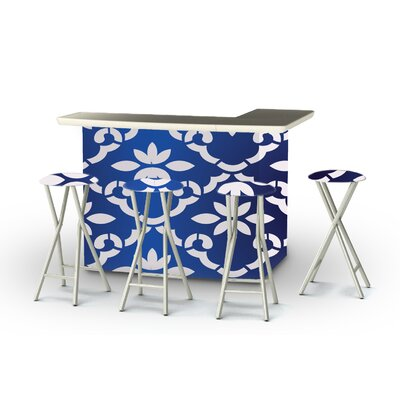 9 Piece Patio Bar Set Color: White/Celtic Blue