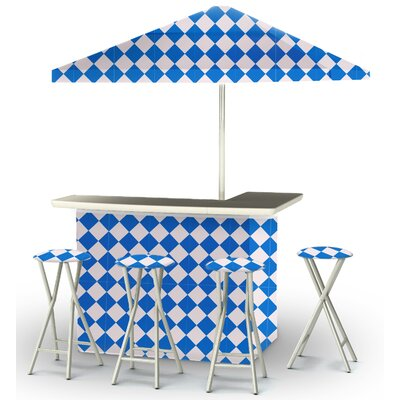 9 Piece Patio Bar Set Color: Royal Blue/White