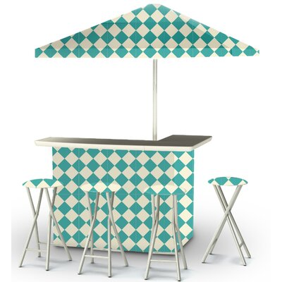 9 Piece Patio Bar Set Color: Mint/Cream