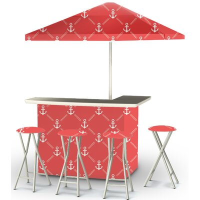 9 Piece Patio Bar Set Color: White/Red