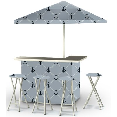 9 Piece Patio Bar Set Color: Navy/Gray