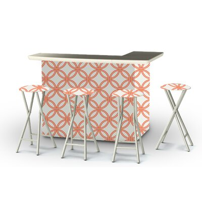 8 Piece Patio Bar Set Color: Orange/White