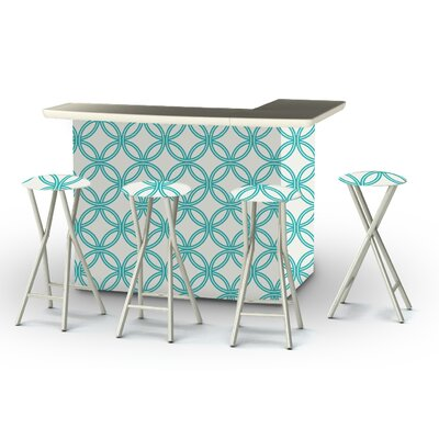 8 Piece Patio Bar Set Color: Teal/White