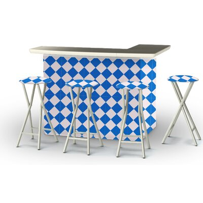 8 Piece Patio Bar Set Color: Royal Blue/White