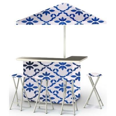 9 Piece Patio Bar Set Color: Celtic Blue/White
