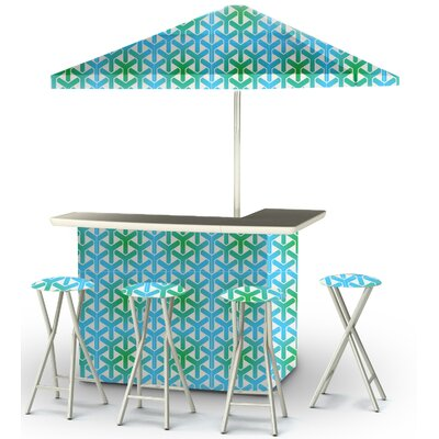 8 Piece Patio Bar Set Color: Green/Blue/White