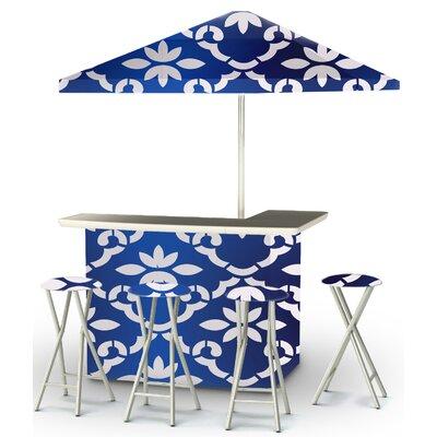 9 Piece Patio Bar Set Color: White/Celtic Blue