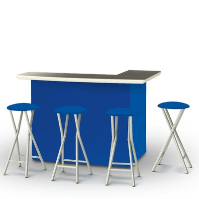 5 Piece Patio Bar Set Color: Royal Blue
