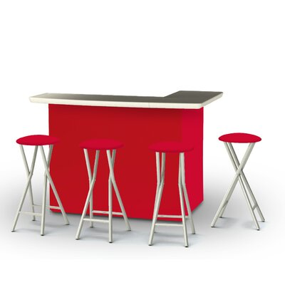 8 Piece Patio Bar Set Color: Red
