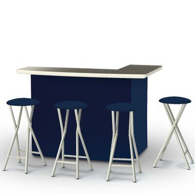 8 Piece Patio Bar Set Color: Navy Blue