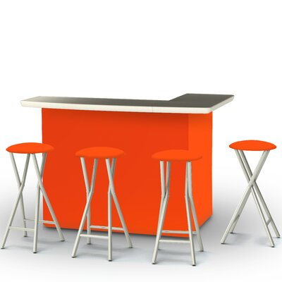 8 Piece Patio Bar Set Color: Orange