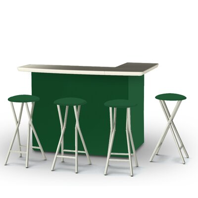 5 Piece Patio Bar Set Color: Green