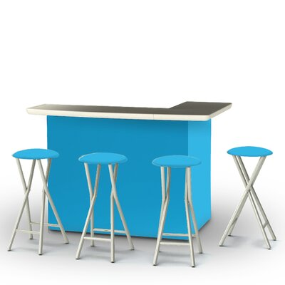 8 Piece Patio Bar Set Color: Sky Blue