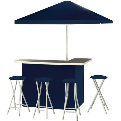 9 Piece Patio Bar Set Color: Navy Blue