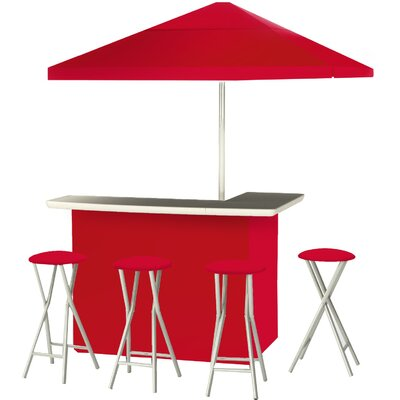 9 Piece Patio Bar Set Color: Red