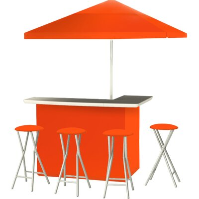 9 Piece Patio Bar Set Color: Orange