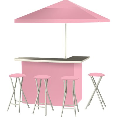 9 Piece Patio Bar Set Color: Pink