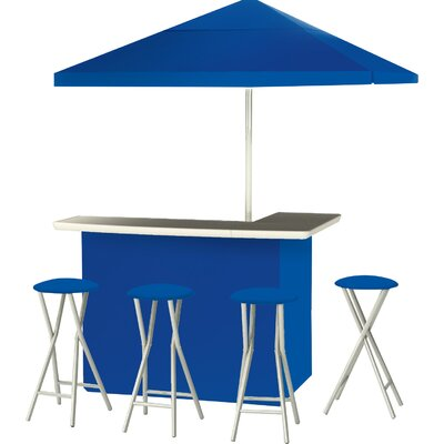 9 Piece Patio Bar Set Color: Royal Blue