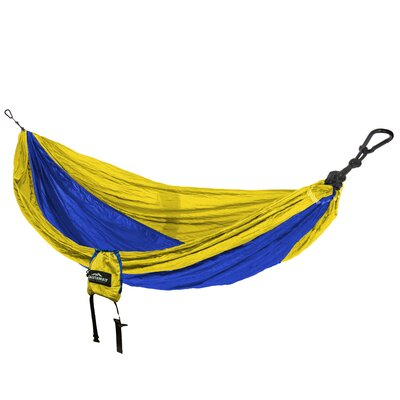 Travel Single Nylon Camping Hammock Color: Yellow/Blue