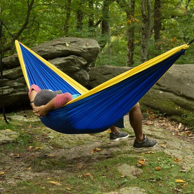 Travel Double Nylon Camping Hammock Color: Yellow/Blue
