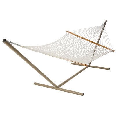 Deluxe Rope Polyester Hammock Color: White